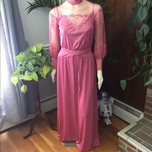 Vintage GEM 70s does Victorian maxi prom dress